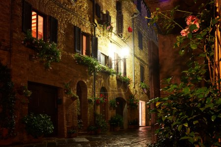 Illuminated Street of Pienza