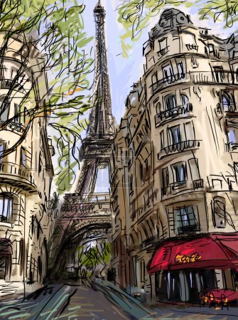 Photo for Street in paris - illustration - Royalty Free Image