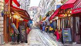 """Постер, картина, фотообои """"улица в Париже - иллюстрация"""""""
