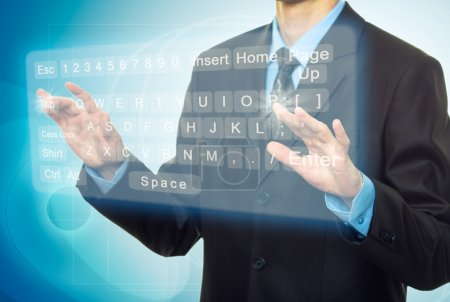 Businessman Hands pushing a button on a touch screen