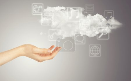 Hand, cloud and multimedia icons