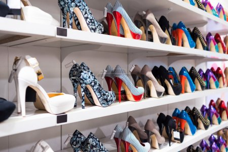 Photo for Background with shoes on shelves of shop - Royalty Free Image