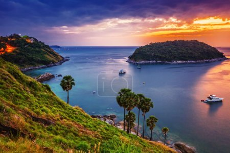 Photo for Tropical sea at beautiful sunset. Nature background - Royalty Free Image