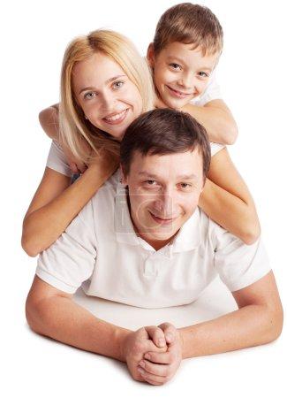 Photo pour Famille heureuse. parents avec enfants. mère, père et fils isolé sur fond blanc - image libre de droit