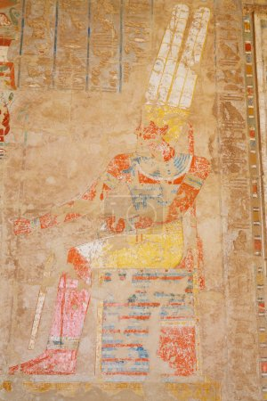 Ancient painting at the Mortuary Temple of Hatshep...