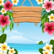 Vector illustration - tropical landscape with flow...