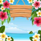 Vector illustration - tropical landscape with flowers