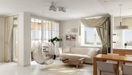 Photo pour Intérieur de luxe moderne appartement lumineux, rendu 3d - image libre de droit