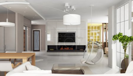 Luxury apartment interior with fireplace