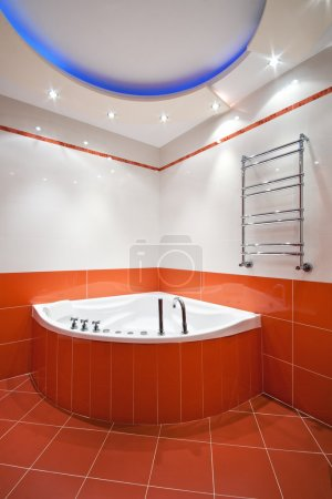 New bathroom in orange and white colors