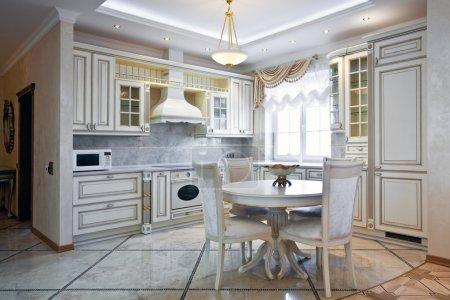 Interior of a new luxury light kitchen in daylight...