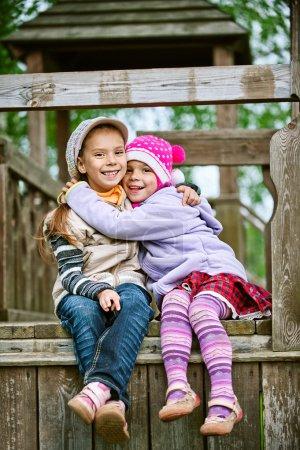 girl-preschooler laughs and plays