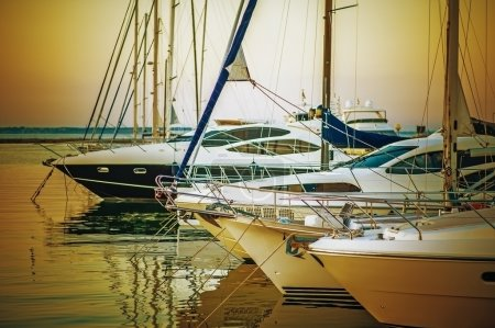 Yachts parked on mooring
