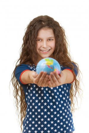 smiling little girl with globe