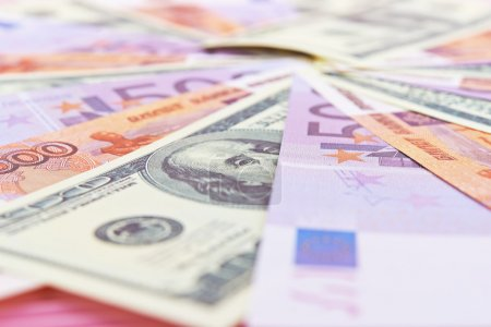 Russian rubles, euros and dollars