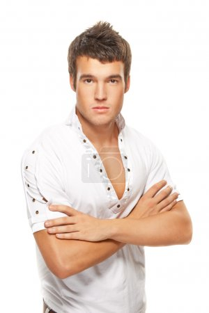 portrait of young handsome man against white background