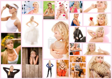 Photo for Collage with photos of beautiful young woman in different situations isolated on white background. - Royalty Free Image