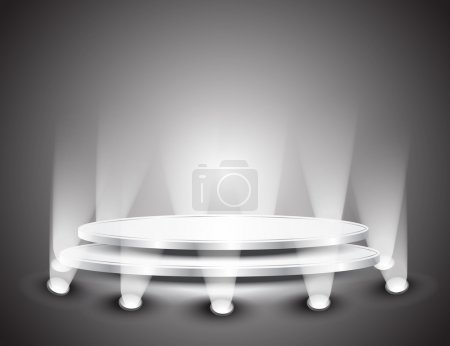 Illustration for 3d Empty white podium with light for design - Royalty Free Image