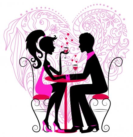 Illustration for Silhouette of the romantic couple over floral heart for Valentine design - Royalty Free Image
