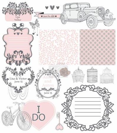 Foto de Colección de invitación de boda de elementos vintage - puede ser utilizado para el diseño de diseño, álbum de recortes o San Valentín - Imagen libre de derechos