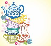 tea cup background with teapot