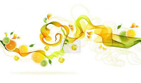 Illustration for Orange and lime juice splash with abstract wave, background illustration - Royalty Free Image