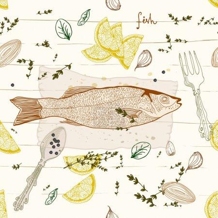 Illustration pour Fond transparent avec plat de goût de poisson - image libre de droit