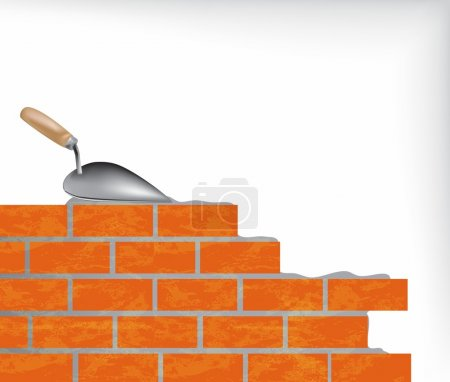 Brick wall and trowel