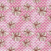 Seamless retro pattern with waves flowers and laces