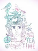 Illustration of a beautiful girl and tea cups