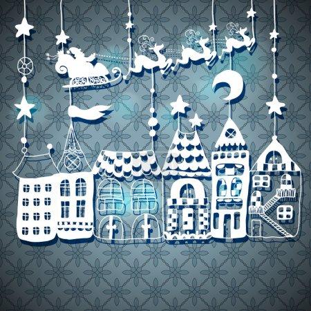 New year card with Santa