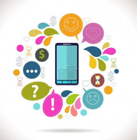Illustration pour Téléphone mobile avec icônes, coloré concept de communication, de l'amour, de temps et d'argent dans le réseau, icônes du concept design plat - image libre de droit