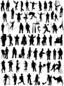 Big collection of silhouettes of people various specialties