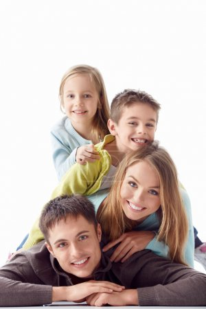Photo for Family with children on a white background - Royalty Free Image