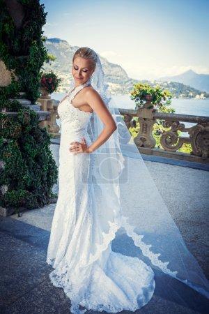 Photo pour Jeune belle mariée avec un voile - image libre de droit