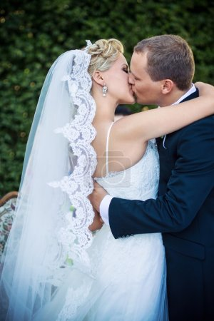 Photo pour Jeune couple marié embrasser en plein air - image libre de droit