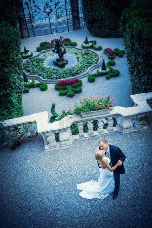 Photo pour Embrasser jeune couple marié dans un paysage - image libre de droit