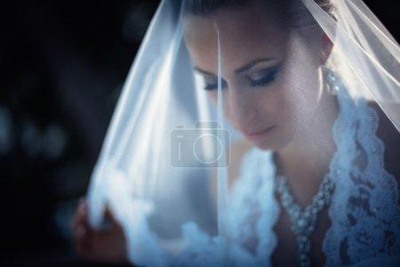 Photo pour Belle jeune mariée avec un voile - image libre de droit