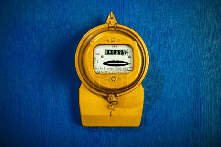 Golden retro electric meter