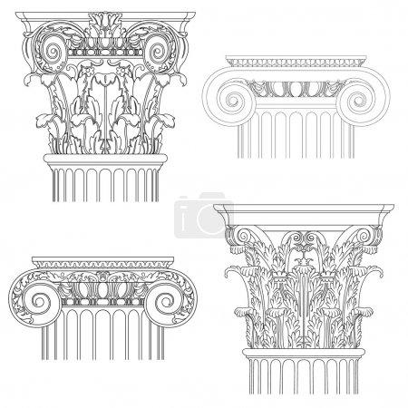 Classic style column , vector set