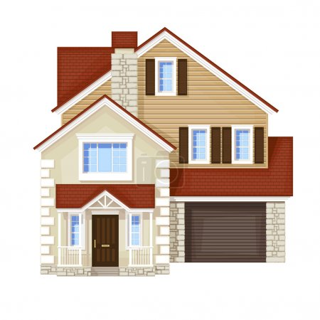 Illustration for Front house , vector without gradient - Royalty Free Image