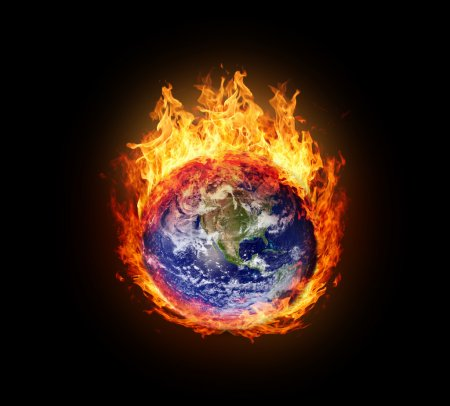 Burning globe earth (west hemisphere)