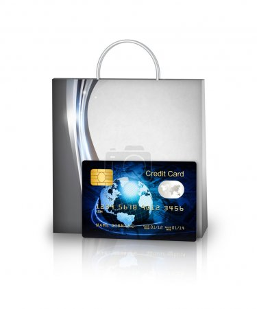shopping bag and credit card isolated over white