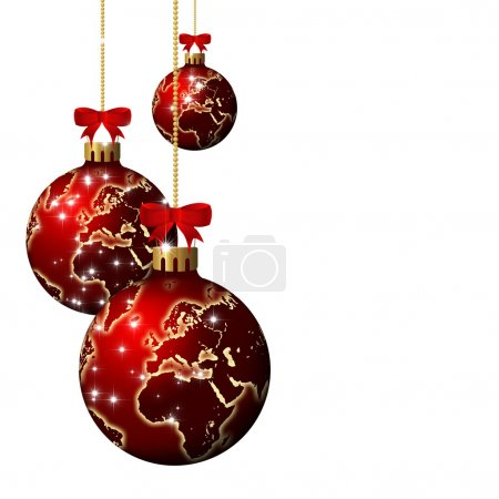 christmas glass balls with world pattern over white background