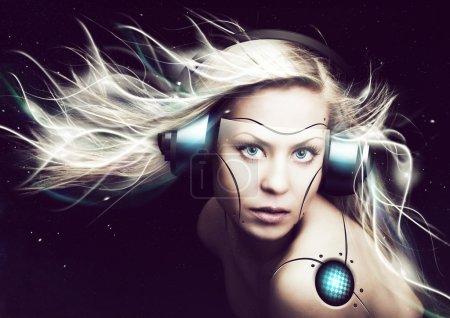 cyborg woman over dark background