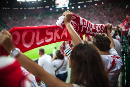 WROCLAW - SEPTEMBER 11: Polish supporters at Stadion Miejski in Wroclaw