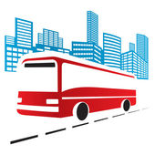Illustration of red bus in the city