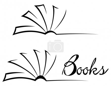 Black open book isolated on white...