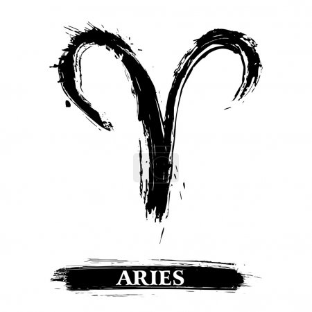 Illustration for Zodiac sign Aries created in grunge style - Royalty Free Image
