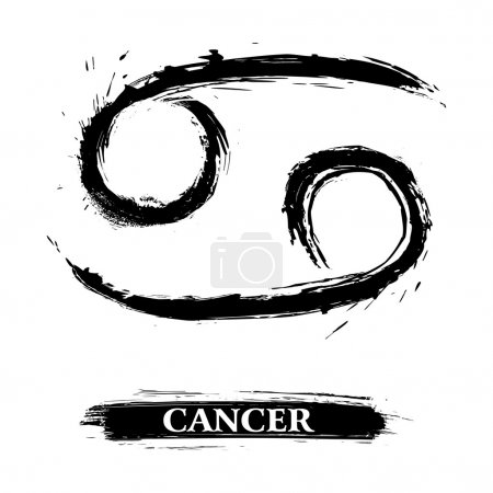 Illustration for Zodiac sign Cancer created in grunge style - Royalty Free Image